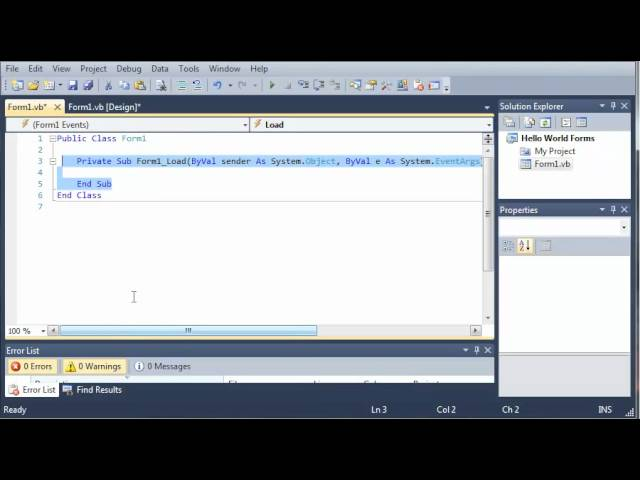 Visual Basic Tutorial – 36 – Introduction To Windows Forms