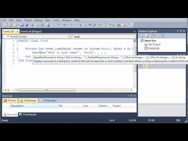 Visual Basic Tutorial – 41 – Input Box