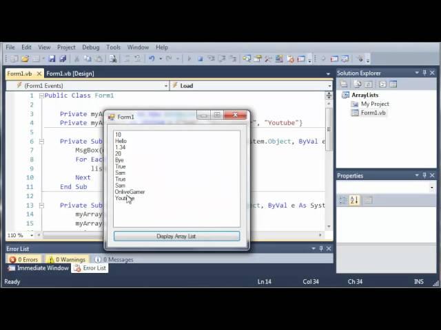 Visual Basic Tutorial – 82 – More On ArrayLists Part 3