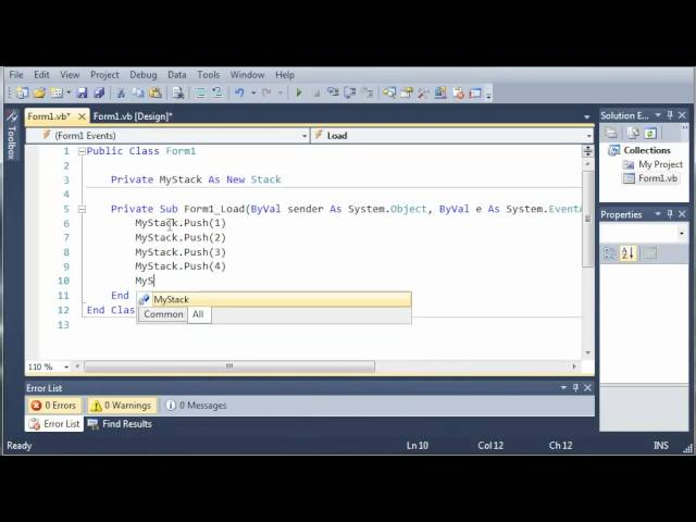 Visual Basic Tutorial – 84 – Stacks