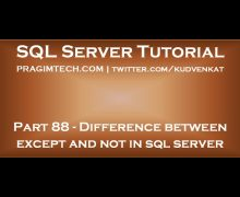 Difference between except and not in sql server