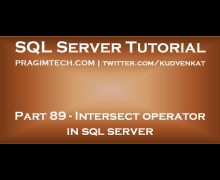 Intersect operator in sql server