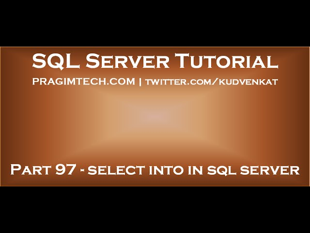 Select into in sql server