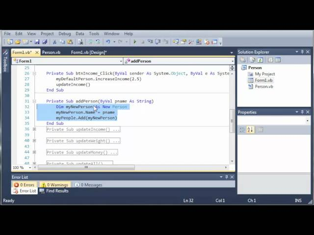 Visual Basic Tutorial – 94 – Person Part 3