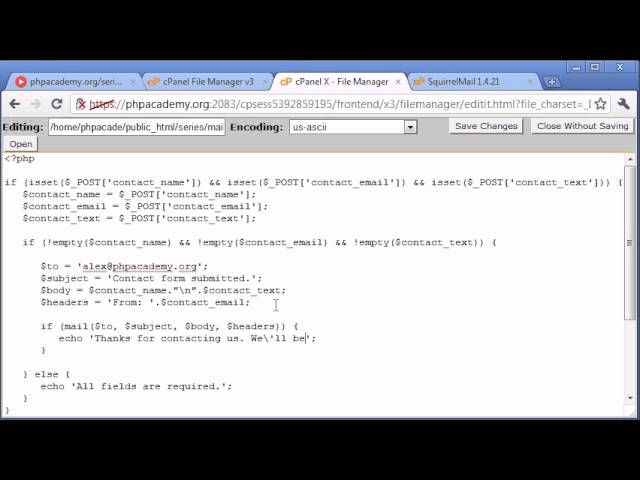 Beginner PHP Tutorial – 102 – Creating a Simple Contact Form Part 3