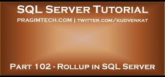 Rollup in SQL Server