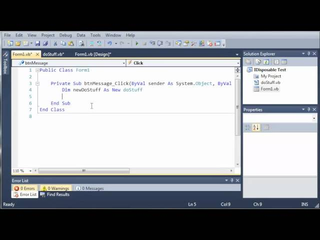 Visual Basic Tutorial – 100 – Introduction To IDisposable