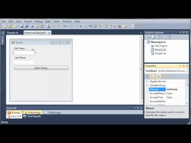 Visual Basic Tutorial – 103 – Accessing Classes in Namespaces