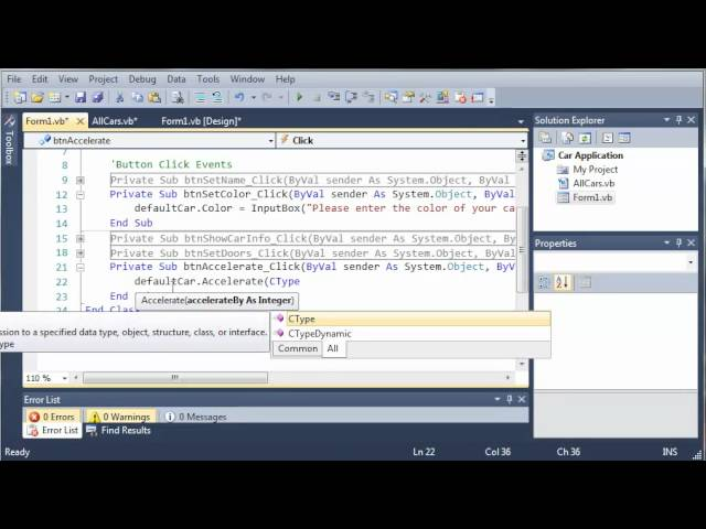 Visual Basic Tutorial – 109 – Car Part 4   Showing The Car Info