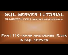 Rank and Dense Rank in SQL Server