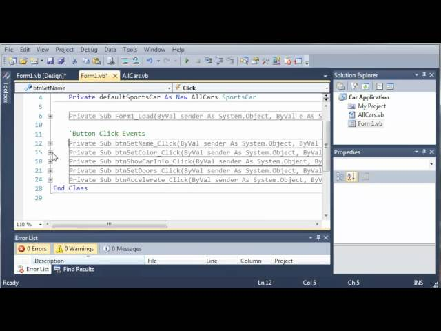 Visual Basic Tutorial – 111 – Car Part 6   More On Inheritance