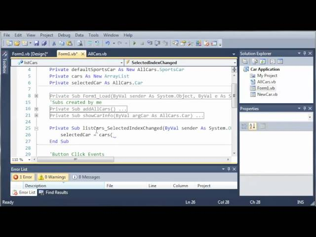 Visual Basic Tutorial – 116 – Car Part 11   Showing Info Of Multiple Cars