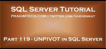 UNPIVOT in SQL Server