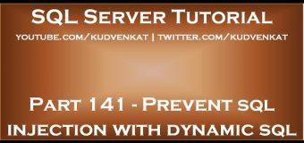 Prevent sql injection with dynamic sql