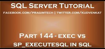 exec vs sp executesql in sql server