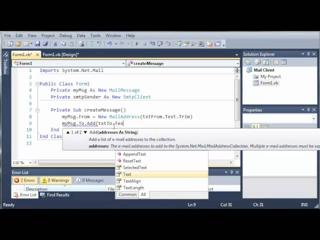 Visual Basic Tutorial – 142 – SMTP Client Part 2   Creating The Message And Credentials