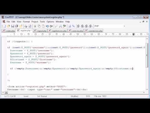 Beginner PHP Tutorial – 145 – Registration Form Part 2