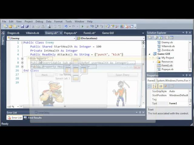 Visual Basic Tutorial – 155 – Game Part 11   Fixing The Health Logic Error