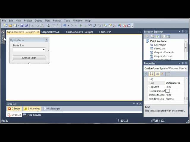 Visual Basic Tutorial – 174 – Paint Part 7   Creating The Options Form