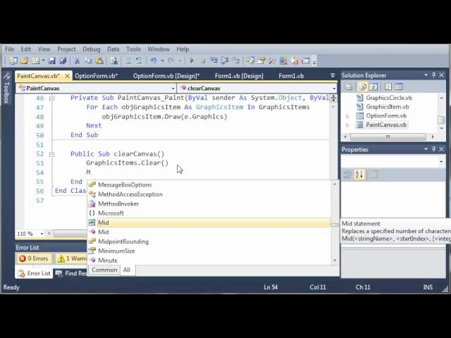 Visual Basic Tutorial – 177 – Paint Part 10   Clearing The Canvas
